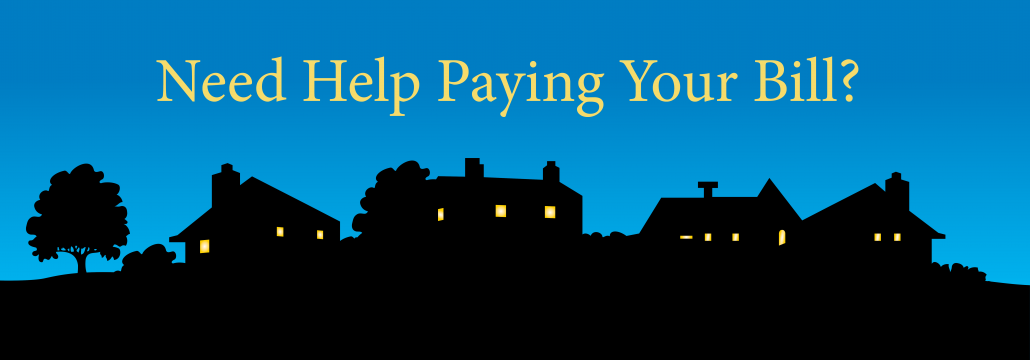 "Cartoon graphic of neighborhood with the caption ""Need Help Paying Your Bill?"""